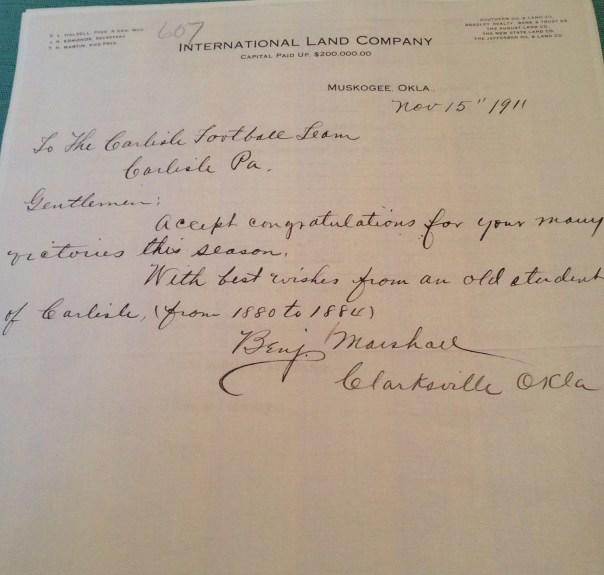 letter from benj marshall