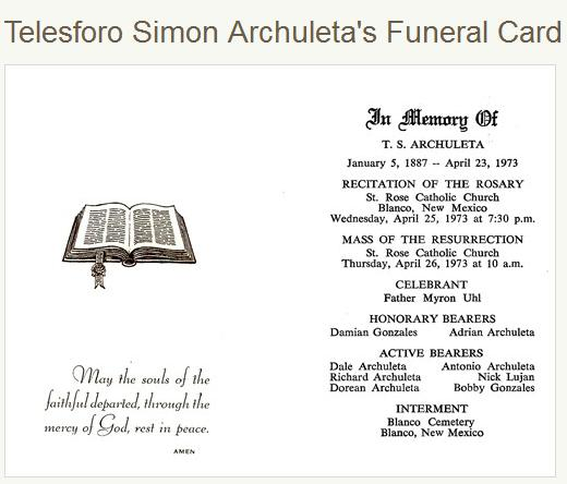 Uncle Simon's funeral card