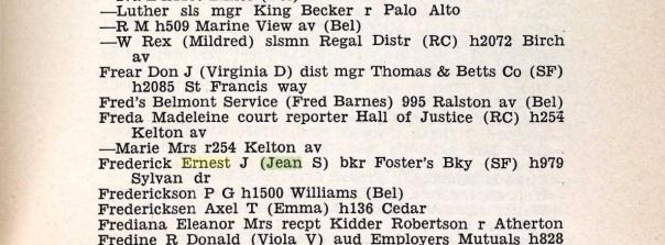 E.J. Frederick 1958 directory