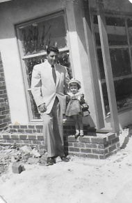 Dad and Cammie, Easter of 1955...moving into the new house