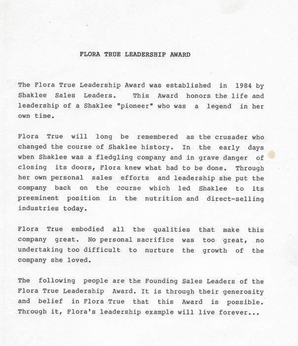 Flora True Leadership Award