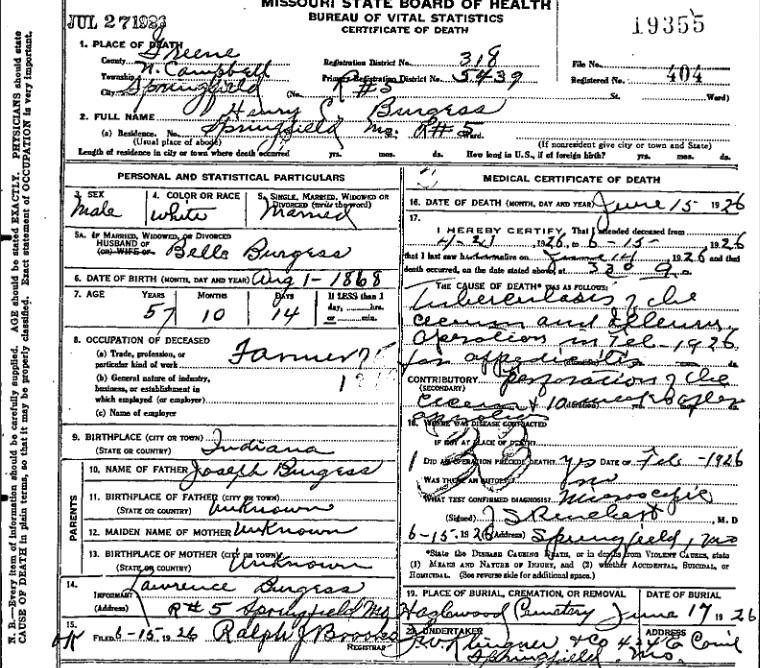 HC Burgess death certificate fake