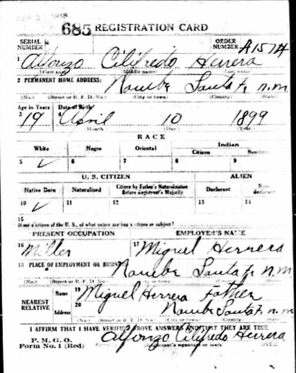 Uncle Fred's Registration Card