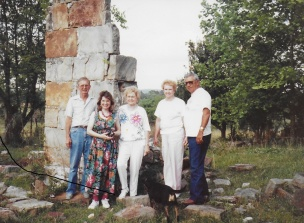 Lenny Holmes, Cindy Wilkinson, Kay Paulson, Tim and Jubie and all that is left of the fireplace where Charles Hardin was raised in Alabama